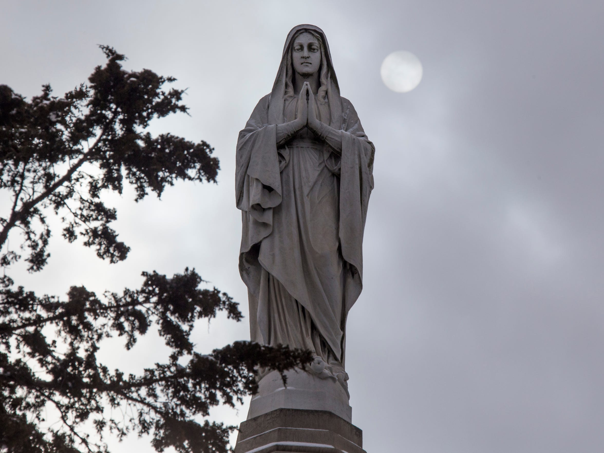 The Our Lady of Marygrove statue looks out from the