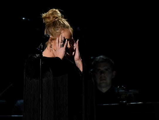 Adele composes herself during her George Michael Tribute