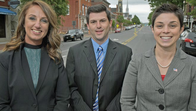Waynesboro Magisterial District Justice candidates met with reporters Thursday, May 4, 2017 in Downtown Waynesboro. From left, Heather Lowman, Travis Carbaugh and Annie Gomez-Shockey.