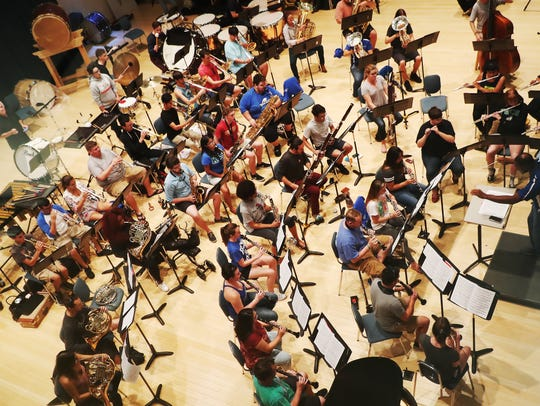 The Florida Gulf Coast University wind orchestra practices