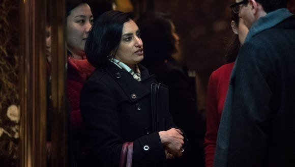 Seema Verma, president and founder of SVC Inc., arrives
