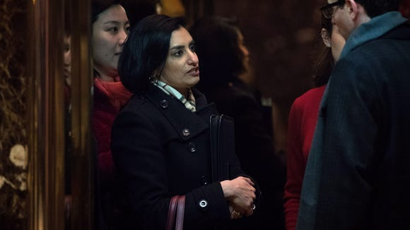 Seema Verma, president and founder of SVC Inc., arrives at Trump Tower on Nov. 22, 2016, in New York City.