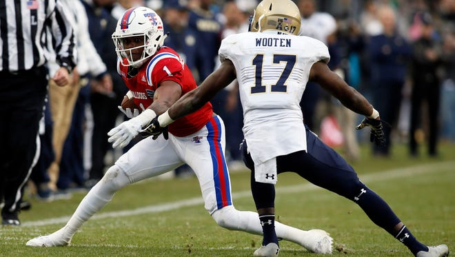 Former Louisiana Tech wide receiver Carlos Henderson (1) is a potential second or third round NFL pick after declaring early for the draft.