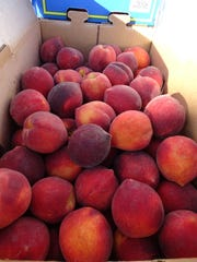 A box of fresh Georgia peaches shipped to Fremont for sale by the The Peach Truck.