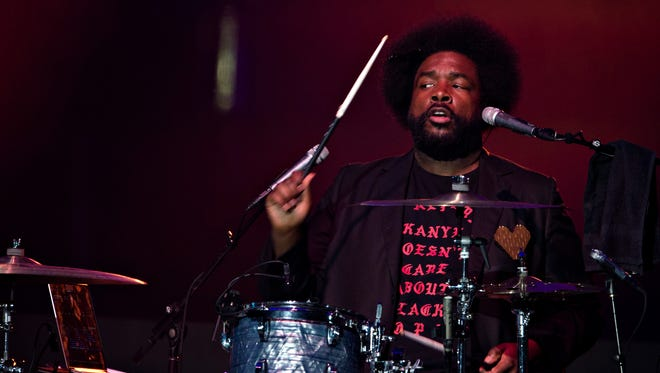 Questlove plays the drums during the Concert for Peace and Justice on Friday, April 27, 2018, in Montgomery, Ala.