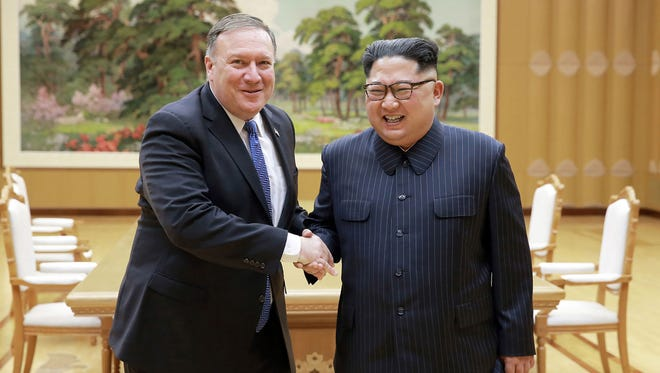 North Korean leader Kim Jong Un and Secretary of State Mike Pompeo shake hands May 9, 2018, at the Workers' Party of Korea headquarters in Pyongyang, North Korea.