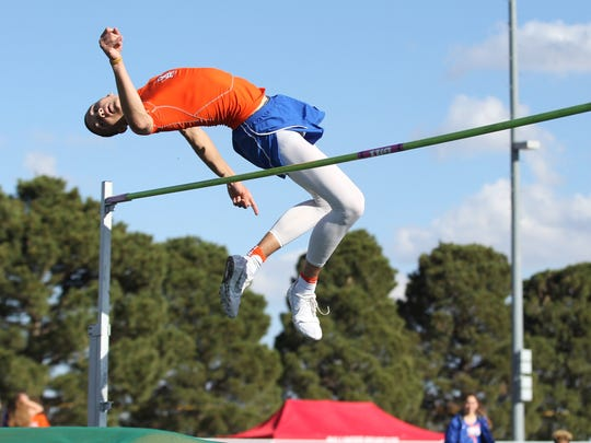San Angelo Central High School high jumper Duriell Taylor competes at the Cotton Patch Relays in Wall on Thursday, March 29, 2018.
