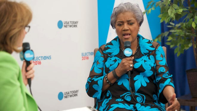 DNC Interim Chair Donna Brazile speaks with USA TODAY Washington bureau chief Susan Page during the 2016 Democratic National Convention at Wells Fargo Arena.