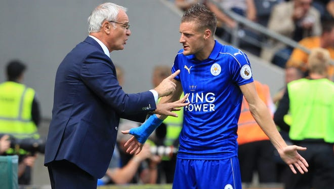 Jamie Vardy (right) denied having a hand in the dismissal of Claudio Ranieri.