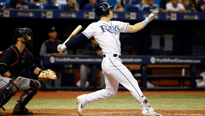 Tampa Bay Rays left fielder Corey Dickerson (10) hits a 3-run home run during the eighth inning against the Cleveland Indians at Tropicana Field.