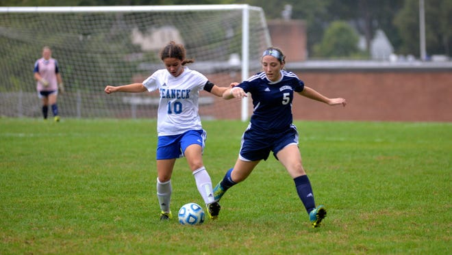Kimberly Cavalcanti (10) is an outstanding dribbler and passer for Teaneck.