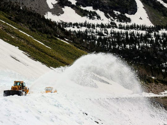 Big Drift plowing efforts on Going-to-the-Sun Road