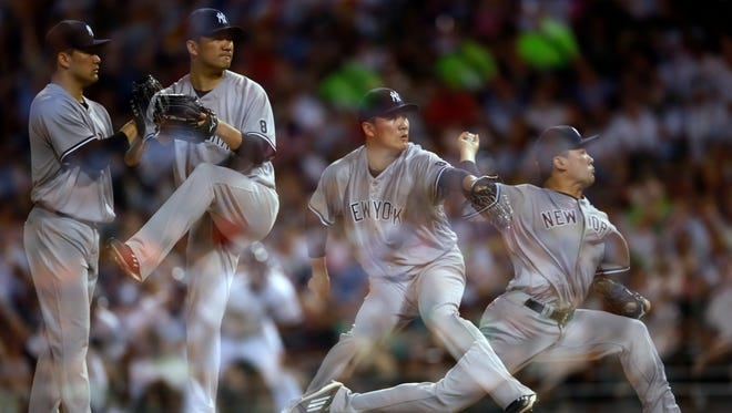 In this multiple exposure New York Yankees starting pitcher Masahiro Tanaka delivers during the seventh inning of a baseball game against the Chicago White Sox in Chicago, Tuesday, July 5, 2016.