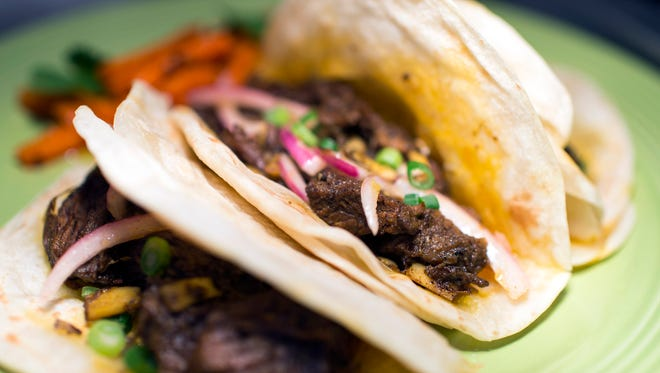 A beef short rib taco dish with pickled carrots from Chaat and Chai on Snyder Ave in South Philadelphia.