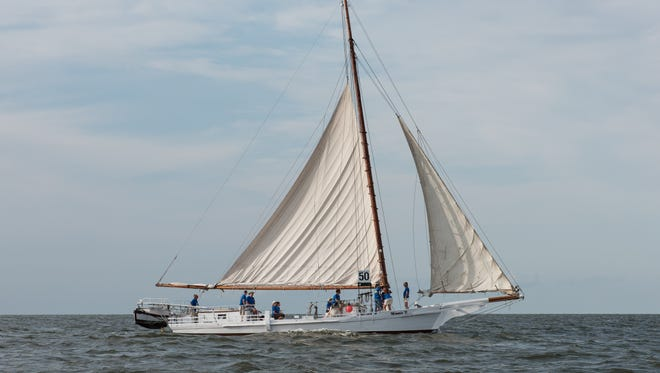 The Minnie V. skipjack sails through the Tangier Sound, a part of the Chesapeake Bay.