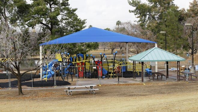 A fully-accessible playground under construction at Chaparral Park on Jan. 10, 2018, in Scottsdale.