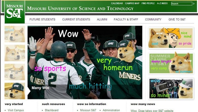 The university posted the popular Internet meme Doge the Dog all over its homepage Tuesday.