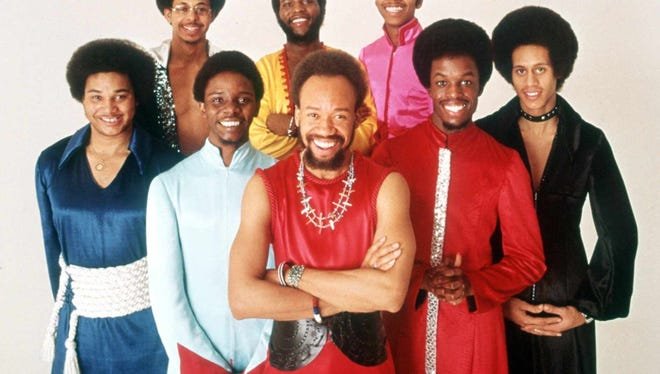 The soul group Earth, Wind & Fire pose for a group portrait in this 1970s promotional photo. Al McKay, front left, will be performing on Guam March 29, 2017.