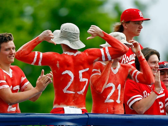 A Rossview fan shows his number 25 on his back after Elijah Pleasants (25) hit a home run during a 2018 TSSAA State Championships Class AAA baseball game against Brentwood Friday, May 25, 2018 in Murfreesboro, Tenn. (Photo by Wade Payne, Special to the Tennessean)