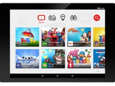 A screen shot of Google's YouTube Kids App, launched in Rebruary of 2015. The app is aimed at children under the age of 5.
