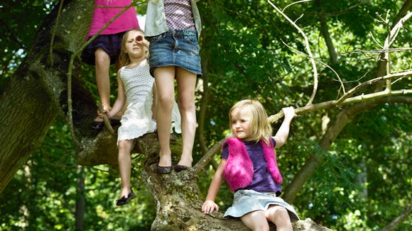 Girls playing with telescopes in tree