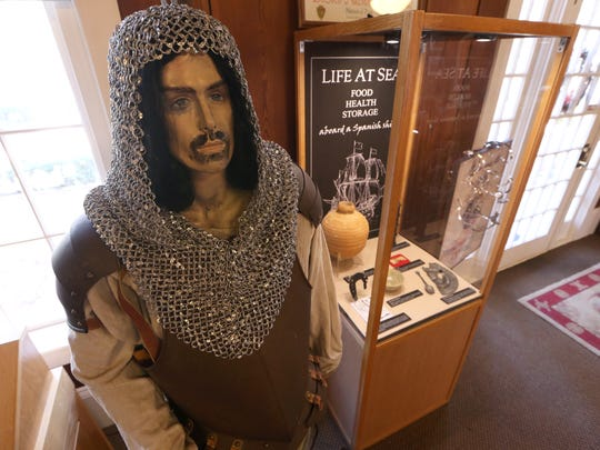 A Hernando De Soto mannequin sits in the Governor John W. Martin House which contains artifacts from the Spanish explorer's trip through Florida.