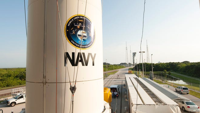 On June, 13, the Navy's MUOS-5 spacecraft, built by Lockheed Martin, was lifted and mated to a United Launch Alliance Atlas V rocket at Cape Canaveral Air Force Station's Launch Complex 41.