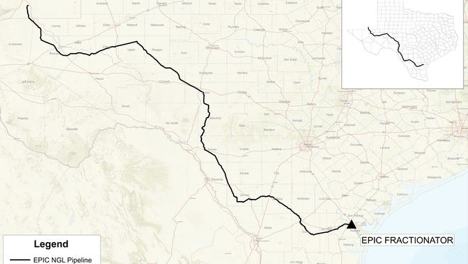 Pictured is the route of the 650-mile Epic NGL Pipeline that will carry natural gas liquids from Southeast New Mexico to Corpus Christi once it is built.