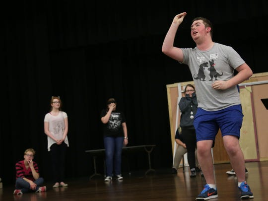 Ethan Wilson, 16, goes through his lines during a practice of 'The Rehearsal' at Madison Middle School on Tuesday.