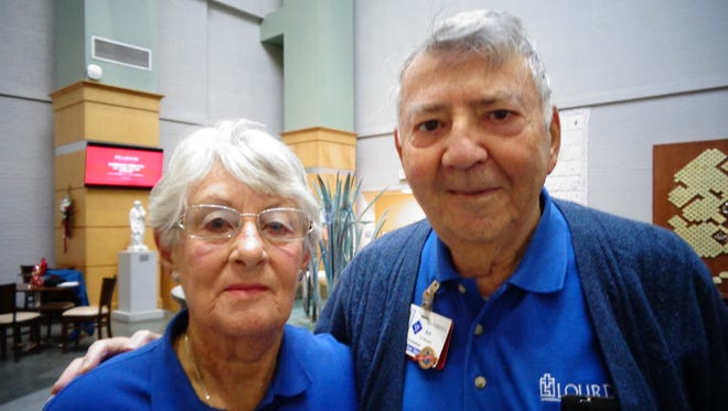 Art and Helen Monaco are long-time volunteers at Lourdes Hospital in Binghamton. In fact, Helen gets credit as the longest. They love what they're doing.