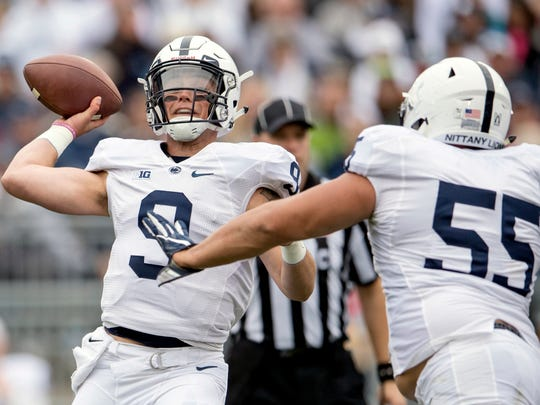 Penn State quarterback Trace McSorley throws a pass