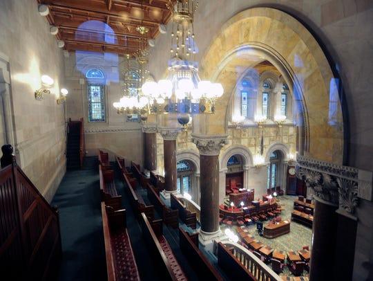 View of an empty Senate Chamber as legislative leaders