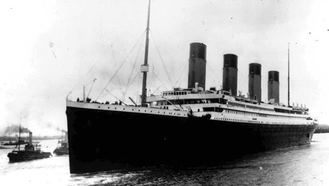 The liner Titanic leaves Southampton, England, on her maiden voyage April 10, 1912.