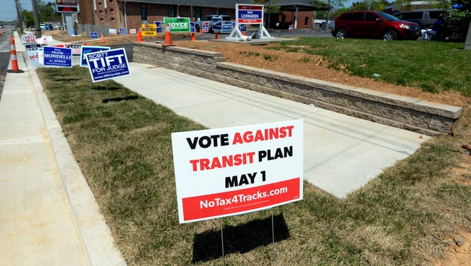 Several signs decorate the grass area in front of Joelton First Baptist Church on Tuesday, May 1, 2018, in Nashville.
