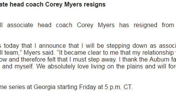 Auburn assistant softball coach Corey Myers released