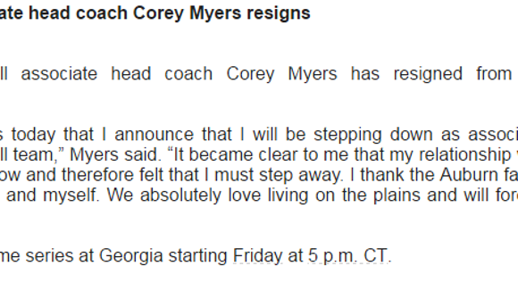 Auburn assistant softball coach Corey Myers released the following statement following his resignation effective immediately.