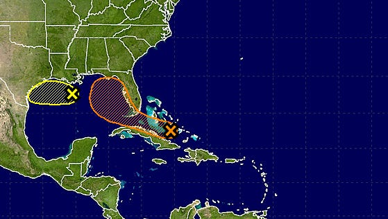 A weather disturbance (orange x) has a chance of strengthening into a tropical storm by early next week within the shaded orange area. A separate system (yellow) could bring rain and storminess to the western Gulf Coast.