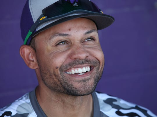 Coco Crisp is the new coach for the Shadow Hills baseball team in Indio, Oct. 10. 2017.