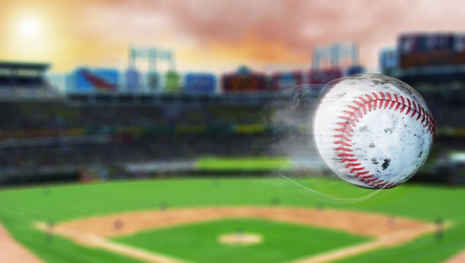 3d illustration of flying baseball leaving a trail of smoke. Spinning dirty baseball, selerctive focus.Leadership concept, One glowing light bulb standing in front of unlit incandescent bulbs with reflection on dark background