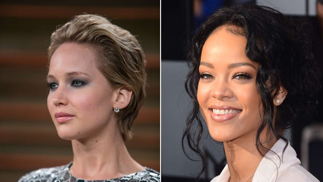 Jennifer Lawrence in March and Rihanna in April. Stolen nude photos purportedly showing many top stars, including these two, leaked online on Sept. 1.