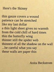 """""""Here's the Skinny,"""" poetry by Anita Beckstrom, part"""