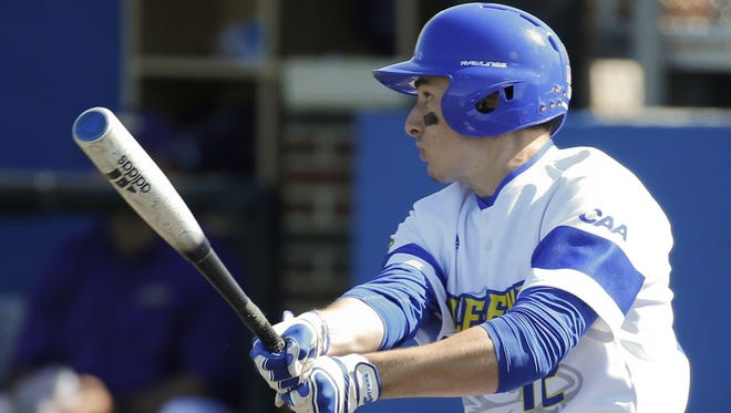 Delaware's Kyle Baker went 4 for 6 in the second game of a doubleheader between Delaware and Hofstra on Friday and upped his team- and CAA-leading batting average to .417. Delaware swept the doubleheader.