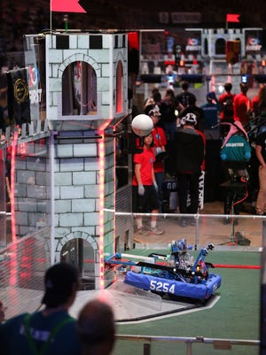 Team 5254: HYPE's robot competes at the FIRST Championships in St. Louis over the weekend.