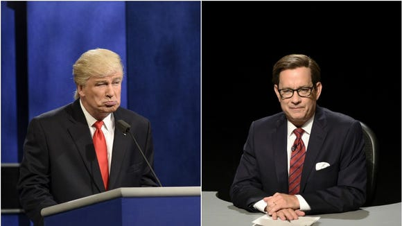 Donald Trump (Alec Baldwin) faces debate moderator