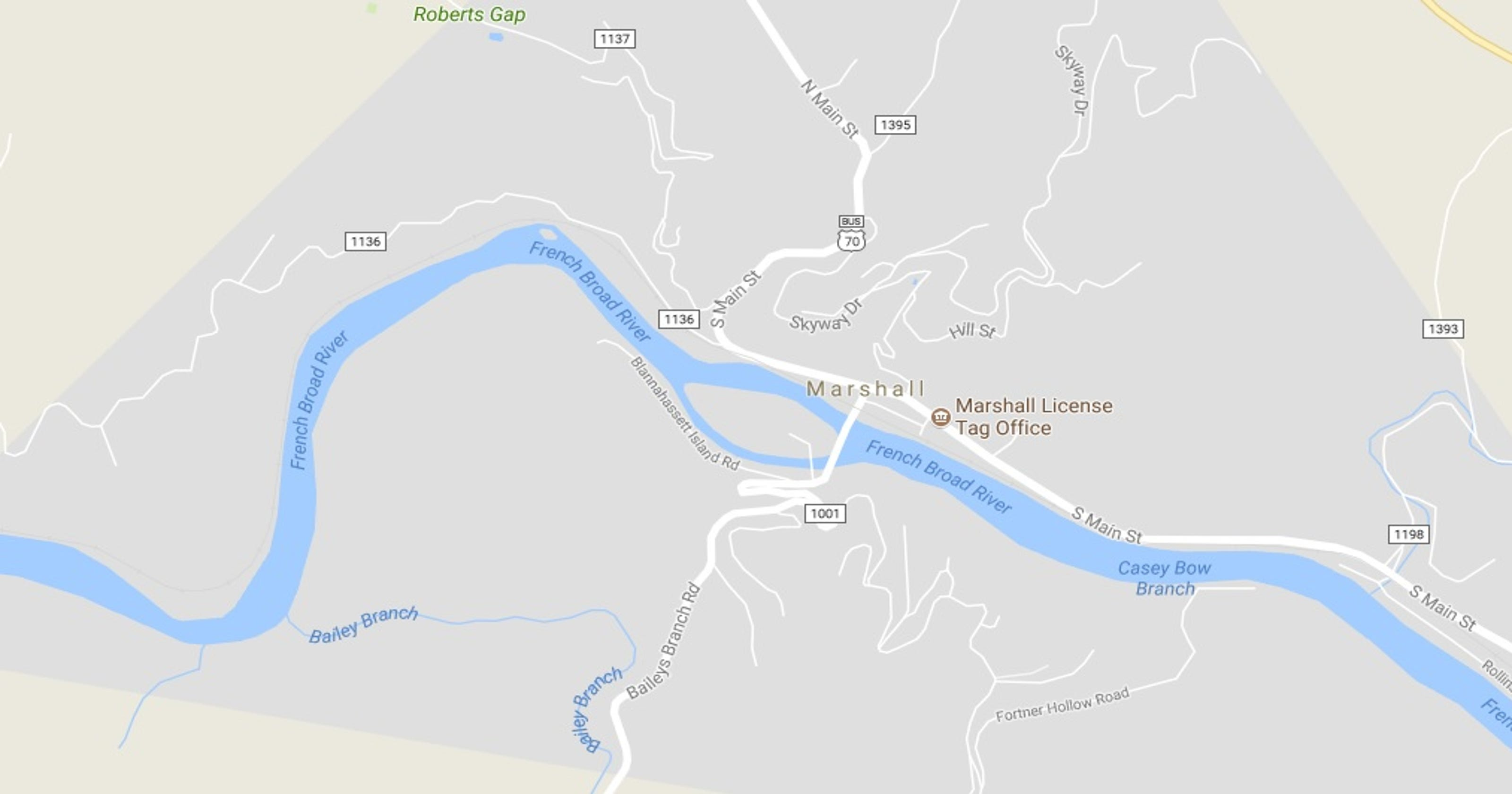 Wastewater enters French Broad River in Marshall