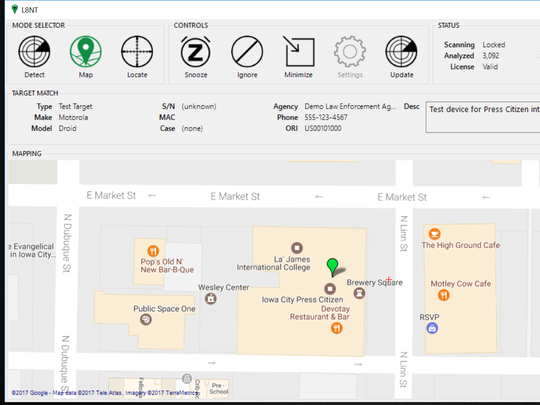 A screenshot of L8NT shows the map an officer would see when the program detects a stolen device nearby.