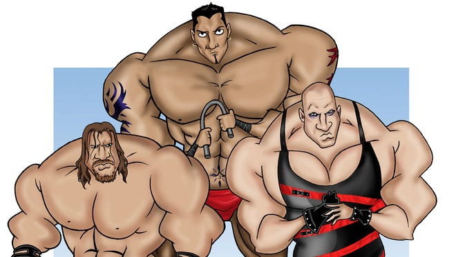 WWE: WWE: Illustration of World Wrestling Entertainment (WWE) personalities, left to right, Triple H, Batista and Kane.