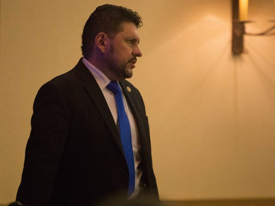 Anthony Maez, special agent in charge of the New Mexico Internet Crimes against Children Task Force. speaks to a group of law enforcement personnel, teachers and other Las Cruces School District employees Monday June  26, 2017 at Hotel Encanto.