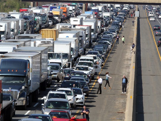 The New Jersey Turnpike after an accident created gridlock