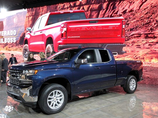 The 2019 Chevrolet Silverado is seen on the floor during the North American International Auto Show on Tuesday, Jan. 16, 2018 in Detroit.